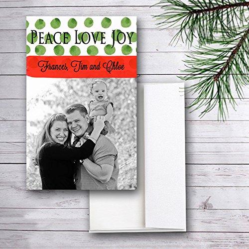 Photo Christmas Cards, Peace Love Joy Polka Dots, Set of (Dots Holiday Photo Card)
