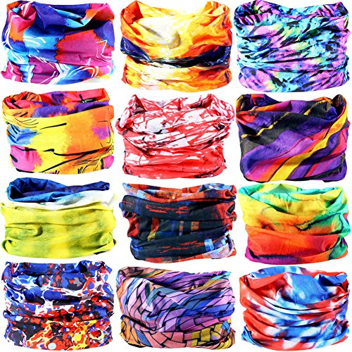 6pcs/8pcs/9pcs/12pcs Wide Headbands for Men and Women-Yoga Sports Wide Headwear Bandana balaclava Headwrap Face Mask Necker Warmer Helmet Liner 16 in 1 Multifunctional Headbands (A1(12PCS))