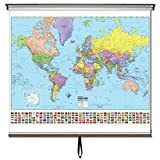Advanced Political Wall Maps Set-Roller w/Backboard;2-Map Choices and Mounting Hardware Included