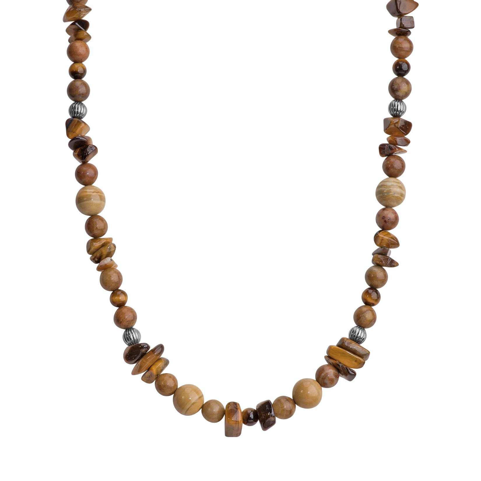 American West Jewelry Sterling Silver Shades of Brown Beaded Necklace, 30'' by American West