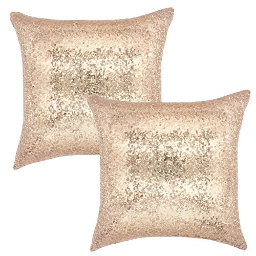 YOUR SMILE Pack of 2, New Luxury Series Gold Decorative Glitzy Sequin & Comfy Satin Solid Throw Pillow Cover Cushion Case 17