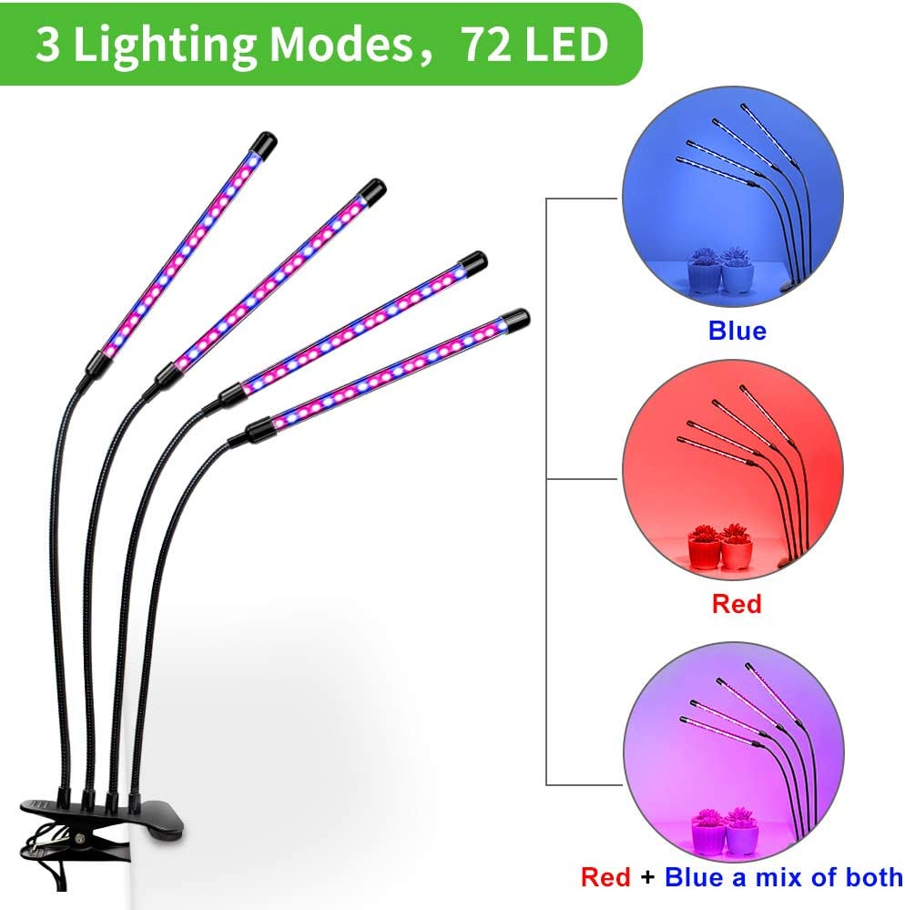 KOTONAMI 4 Heads Grow Lights 3 Modes Led Grow Lamp Timer Function USB Plug-in Powered 360/° Adjustable Arms Lights for Seedlings and Succulents Grow Light Bulbs for Indoor Plants
