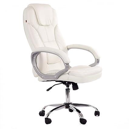 My Sit Sedia Da Ufficio Poltrona Girevole Direzionale Presitenziale Regolabile In Altezza Pelle Sintetica Nuovo Milano Deluxe In Bianco Con Braccioli