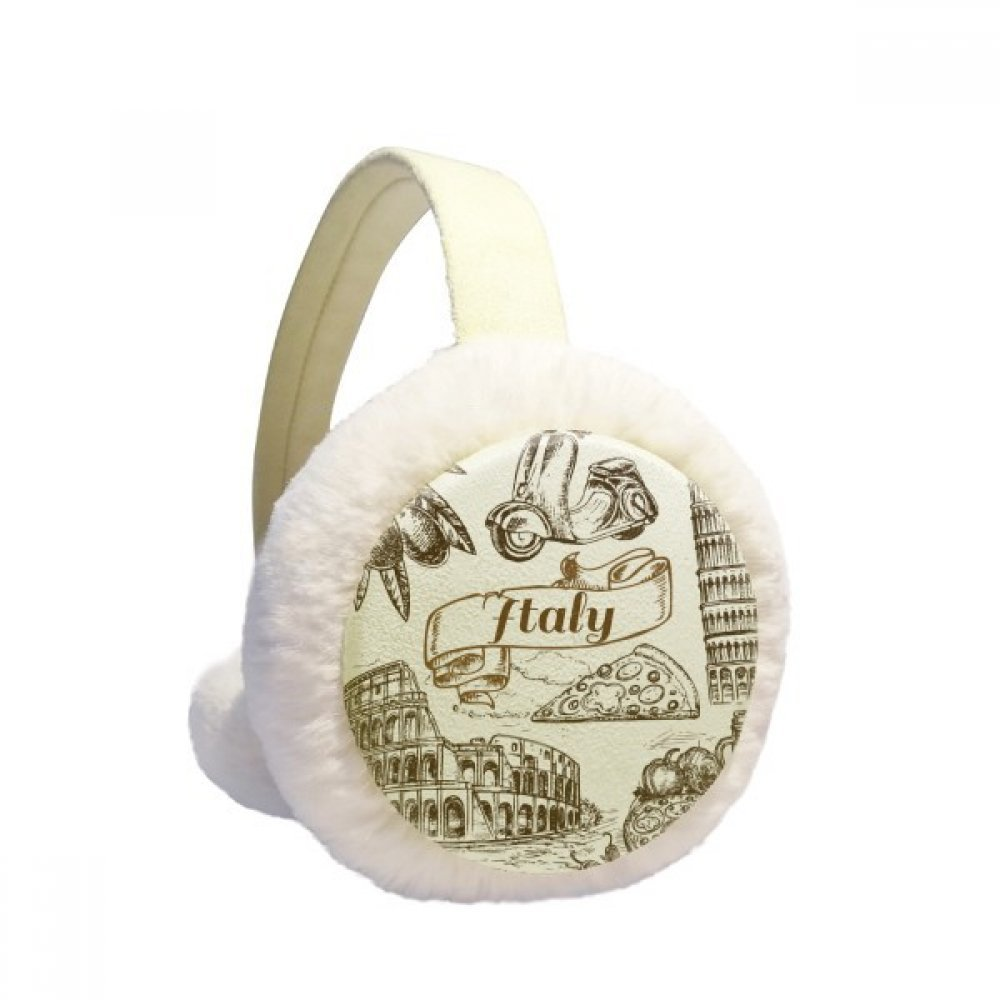 Italy Famous Landscape Travel Places Pattern Winter Earmuffs Ear Warmers Faux Fur Foldable Plush Outdoor Gift