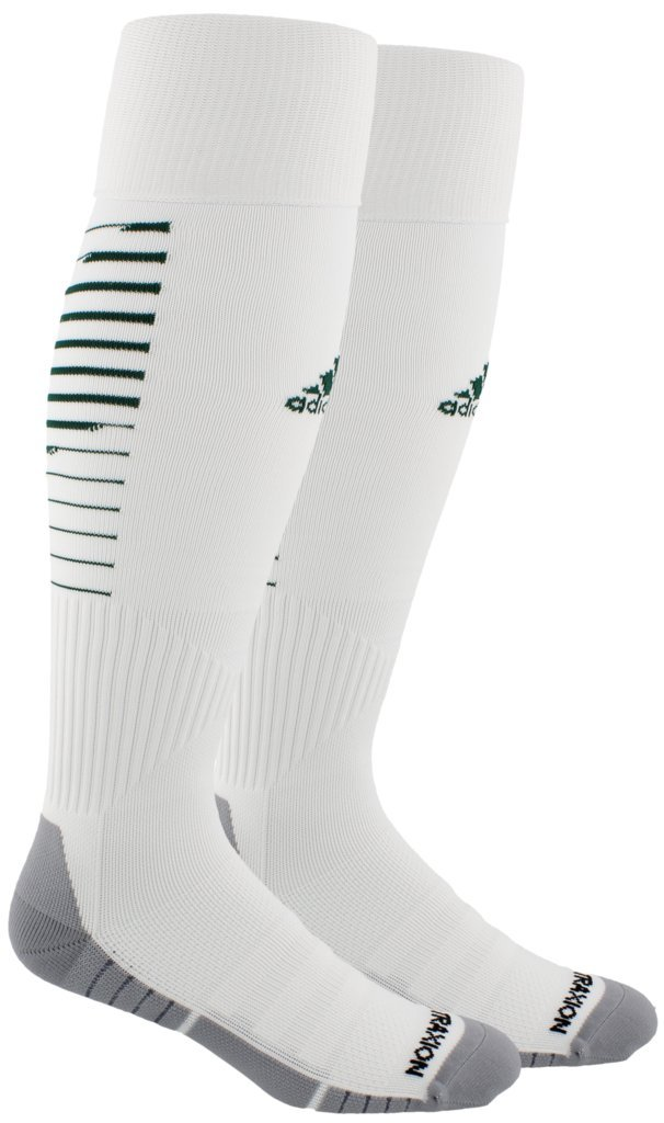 adidas Unisex Team Speed II Soccer Socks, (1-Pair), White/Collegiate Green/Light Onix, 5-8.5 by adidas