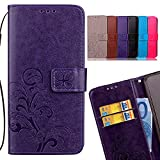 LEMORRY Samsung Galaxy A5 (2017) Case Leather Flip Wallet Pouch Slim Fit Bumper Protection with Magnetic Strap Stand Card Slot Soft TPU Cover Pouch, Lucky Clover Purple