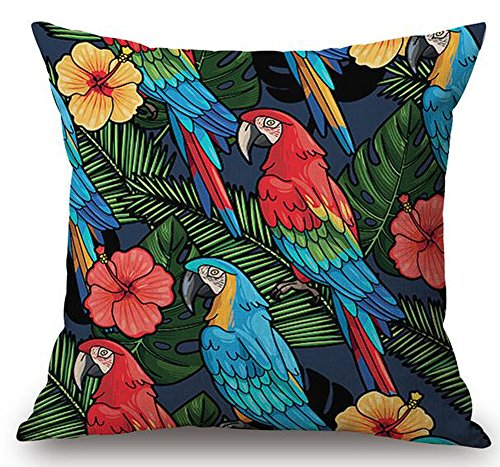 Oil Painting Tropical Colorful Flowers And Birds Parrots Plant Christmas Gift Cotton Linen Decorative Throw Pillow Case Cushion Cover Square 18