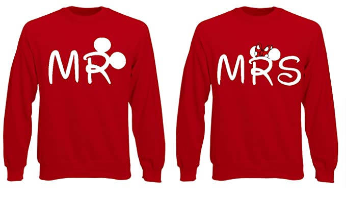 Fruit of the Loom Señor & Mrs par Minnie Mickey Amantes Jersey Sudadera el Sudor Top