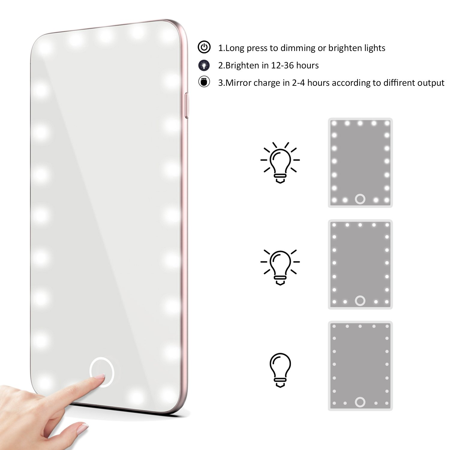 XBUTY Makeup Mirror with Lights Hollywood Style Lighted Vanity Mirror 5.5 Inch Small Hand Mirror Portable Cosmetic Mirror Dimmable Travel Handheld LED Mirror with USB Charging (Rose gold) by XBUTY (Image #4)