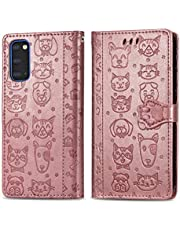 Miagon PU Leather Wallet Case for Samsung Galaxy S20 Plus,Cat and Dog Animal Design Embossing Flip Stand Function Cover with Card Slots Magnetic Buckle and Lanyard,Rose Gold