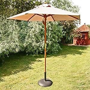 2m Sturdi Plus Aluminium Garden Push Up Parasol - Natural