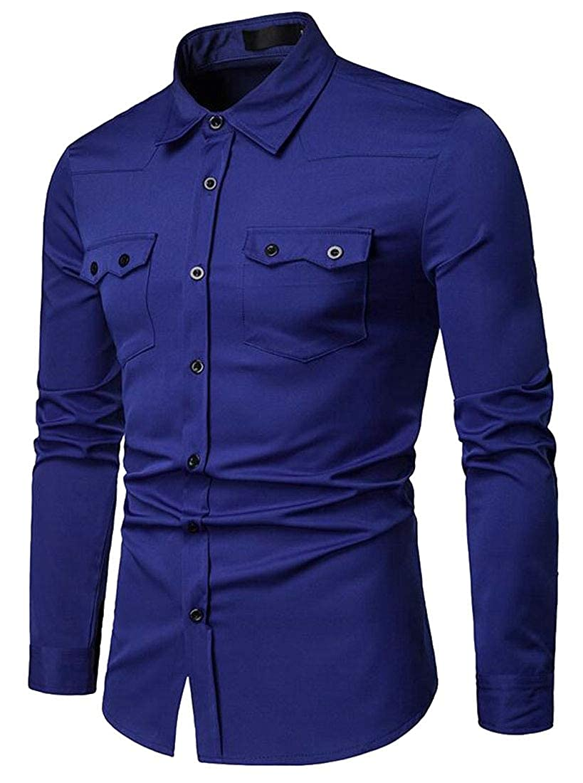 Fubotevic Mens Pocket Front Long Sleeve Casual Business Button Up Solid Color Dress Work Shirt