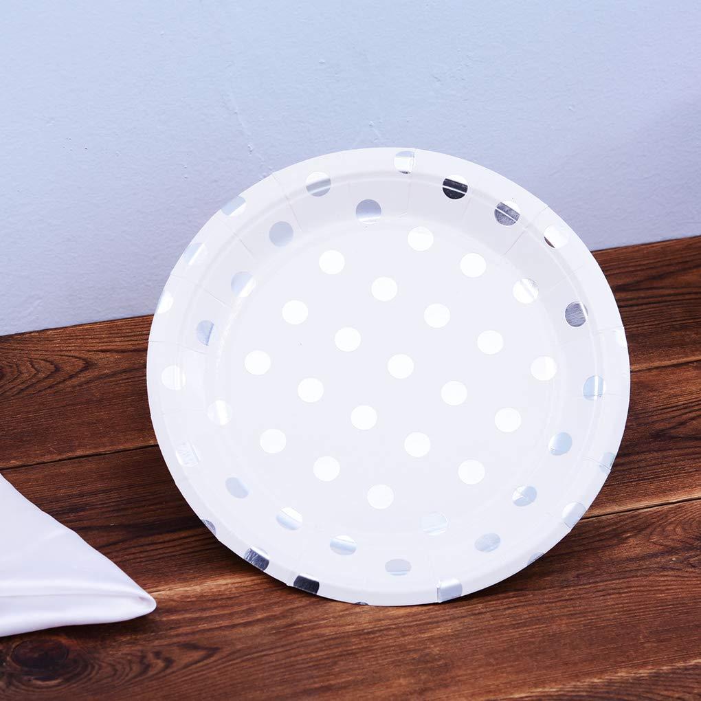 lindahaot 10PCS//Set 7inch Foil Gold Dot Birthday Wedding Party Supplies Decoration Cake Dish Disposable Paper Plates