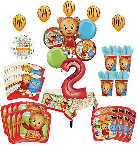 Mayflower Products Daniel Tiger Neighborhood 2nd Birthday Party Supplies and 8 Guest 53pc Balloon Decoration Kit