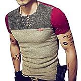 8sanlione Mens Casual Slim Fit Short-Sleeve/Long Sleeve Contrast Color T-Shirt