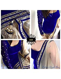 New Indian Designer Royal Blue Velvet Party Wear Salwar Suit Dress Material