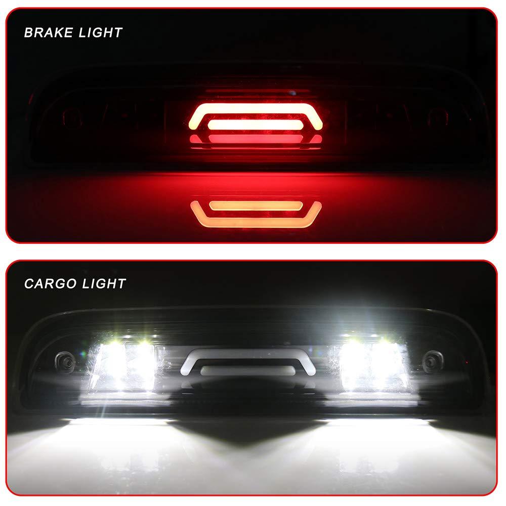 ROADFAR Third Brake Light LED 3rd Brake Light Cargo Lamp Clear Lens Black Housing fit for 2014-2018 GMC Sierra 1500 Chevy Silverado 1500 2015-2018 GMC Sierra 2500HD 3500HD Chevy Silverado 2500 3500