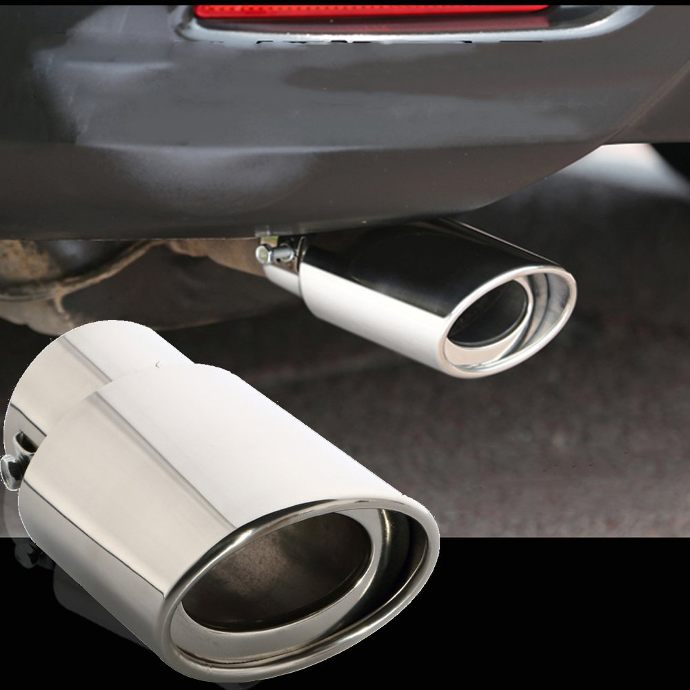 Fit Pipe Diameter 1 3//4 inch to 2 3//4 inch Dsycar Universal Stainless Steel Car Exhaust Tail Muffler Tip Pipe Silver Large Straight:6.3 X 4