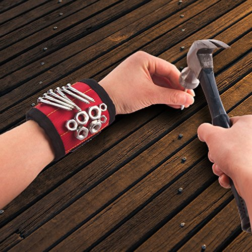 Magnetic Wristband, Toyoo Magnetic Wristband with 10 Strong Magnets for Holding Tools, Screws, Nails, Bolts, Drill Bits, Screwdriver (Red) by ToYoo