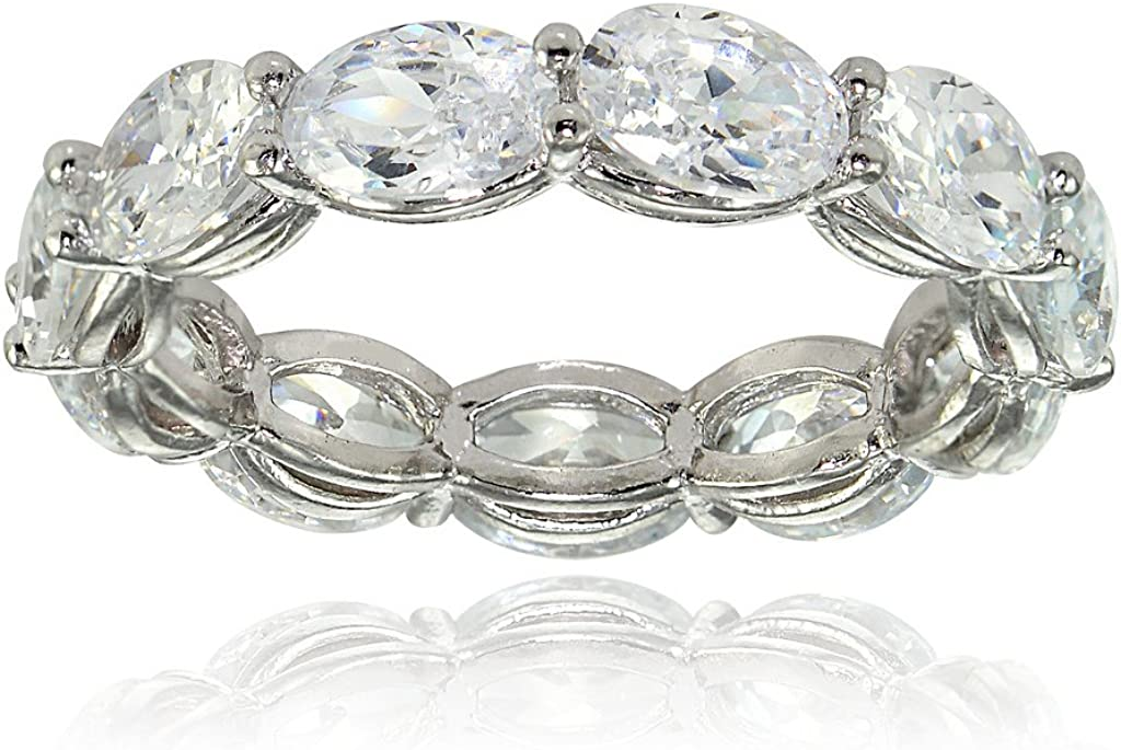 Hoops & Loops Sterling Silver Cubic Zirconia 6x4mm Oval-Cut Eternity Band Ring
