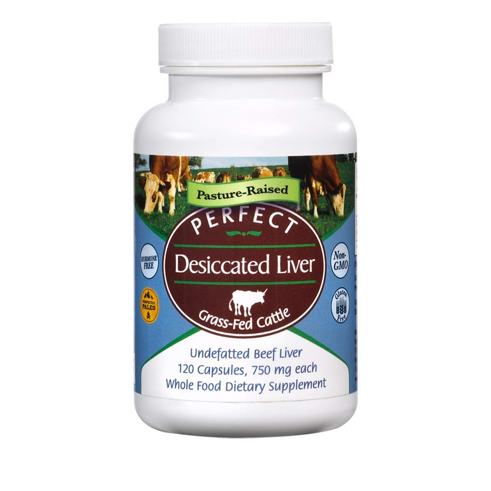 Perfect Desiccated Liver - Grass Fed Undefatted Argentine Beef Liver (120 capsules, 750mg per capsule, Net wt 90g) (Pack of 3) by Perfect Supplements
