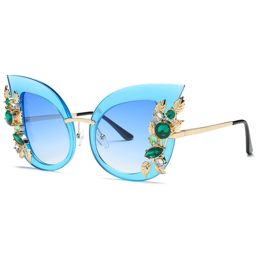 Womens Sunglasses, Artificial Diamond Cat Ear Glasses Classic Unbreakable Metal Frame Brand Sunglasses Oversized (Blue)