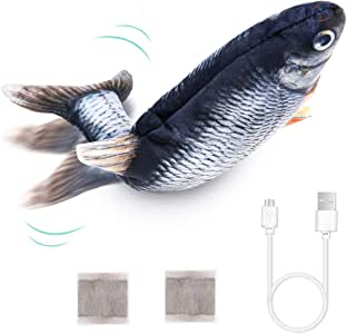 PP OPOUNT Electric Moving Fish Toy Realistic Flopping Fish Toy Wagging Fish Plush Interactive Cat Toys Chew Bite Kick Supplies for Cat Exercise