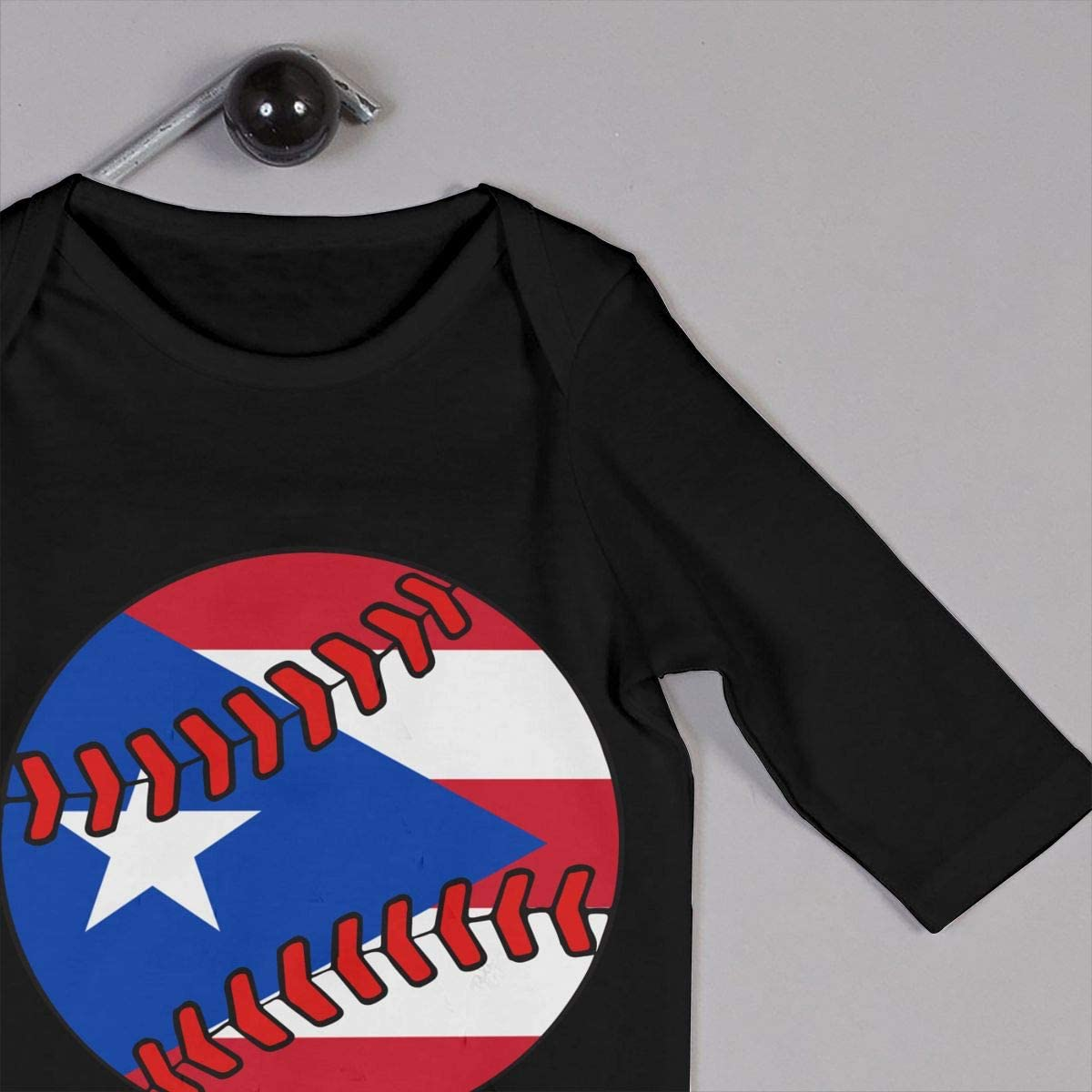 Puerto Rico Flag Baseball Clip Art Organic One-Piece Kid Pajamas Clothes Baby Boys Romper Jumpsuit
