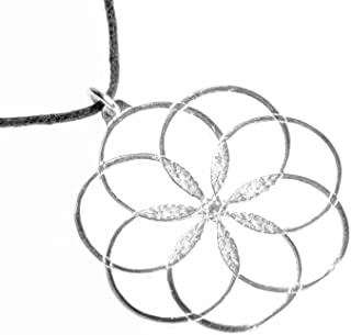 product image for 7 Rings of Peace Silver-Dipped Pendant Necklace on Adjustable Natural Fiber Cord