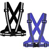 SAWNZC Running Reflective Vest Gear 2Pack, Adjustable Safety Vests High Visible Reflective Belt Straps for Night Running Outd