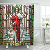 VaryHome Shower Curtain Colorful Bible Jesus Christ Stained Glass Cathedral Catholic Waterproof Polyester Fabric 72 x 72 inches Set with Hooks