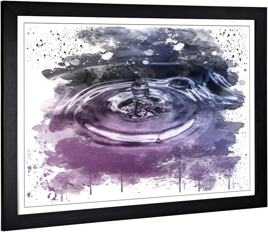 Framed Picture Print With Water Droplet Rain Abstract Art 2 V3 Art Design Large Wall Art Home Decor For Kitchen Living Room Dining Room Bedroom Hallway A2 24 5