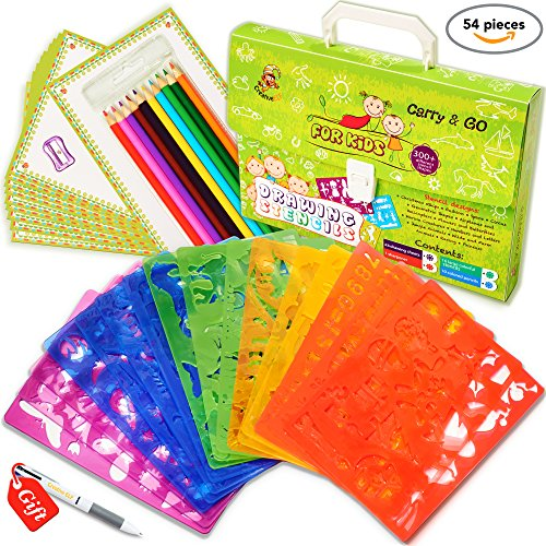 Drawing Stencils Set for Kids (54-Piece) - Perfect