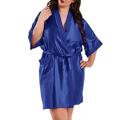 Pijamas Mujer Verano Camiseta Vestido de satén de Las Mujeres más tamaño Lencería de la muñeca