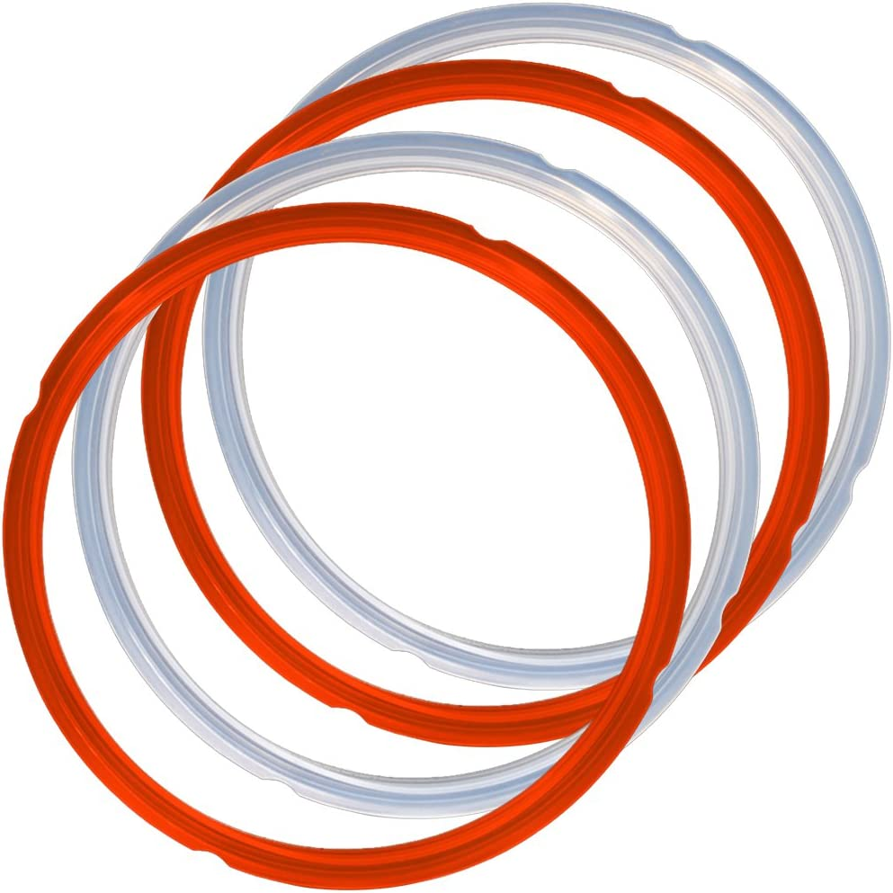 4 Pack Silicone Sealing Rings for Instant Pot, FineGood 2 Colors 5/6qt Size Sweet and Savory Edition Accessory for Pressure Cooker - Red, Clear