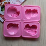 Always Your Chef Silicone Watermelon Cherry Strawberry Shaped Chocolate Molds Handmade Soap Molds Jello Molds, Random Colors