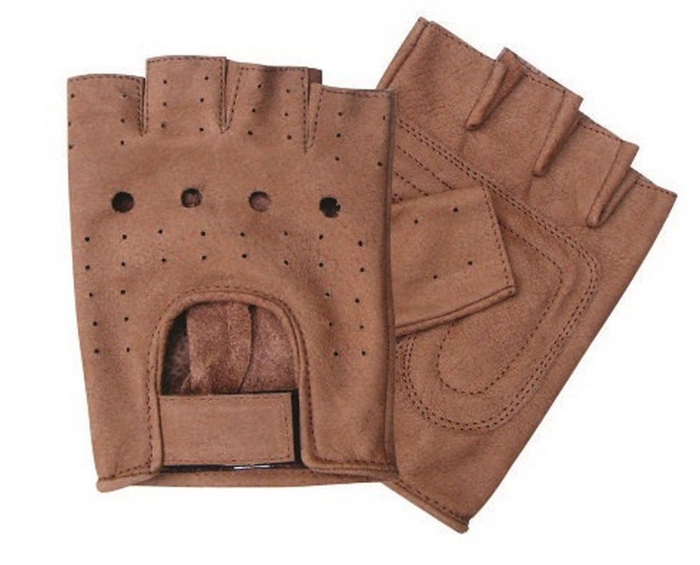 Adult Fingerless Brown Leather Gloves - DeluxeAdultCostumes.com