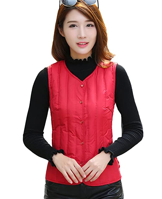 Dooxi Mujer Invierno Sin Mangas Térmico Ropa Interior Chalecos Slim Ultra Ligero Apilable Chaleco Tops con