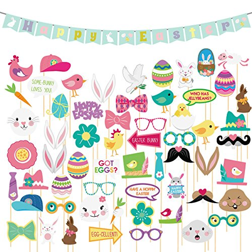 60 Pack Easter Photo Booth Props Kit - Booth Props and Banner - Party Backdrop Decorations, Selfie Props, Photo Booth Accessories, Party Supplies, Assorted -