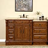 Silkroad Exclusive HYP-0904-T-UIC-58-R Right Side Off Center Sink Bathroom Vanity with Furniture Drawer Cabinet, 58'', Medium Wood