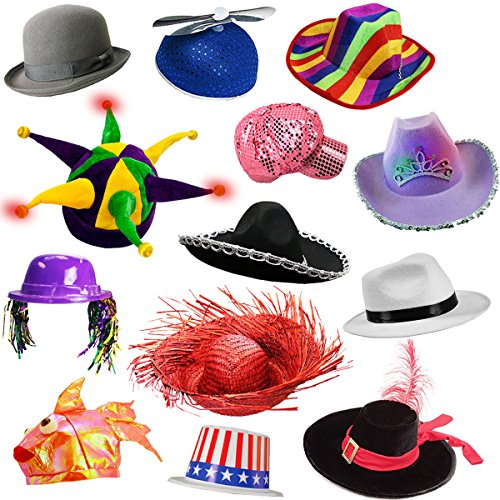 6 Assorted Dress Up Costume & Party Hats by Funny Party Hats (6 Adult Costume (Adult Dressup)