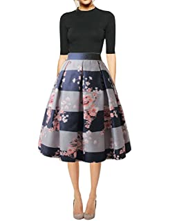 c13d2e834c Hanlolo Women's Floral Midi Skirts High Waisted A-Line Cocktail Party Prom  Skirt