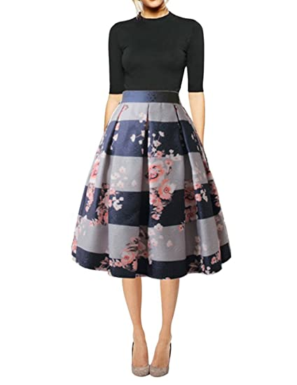 09d2534997a99 Hanlolo Women's Floral Midi Skirts High Waisted A-Line Cocktail Party Prom  Skirt