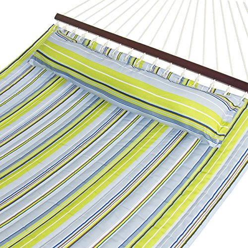Price comparison product image Best Choice Products Quilted Double Hammock w / Detachable Pillow,  Spreader Bar - Blue and Green Stripe