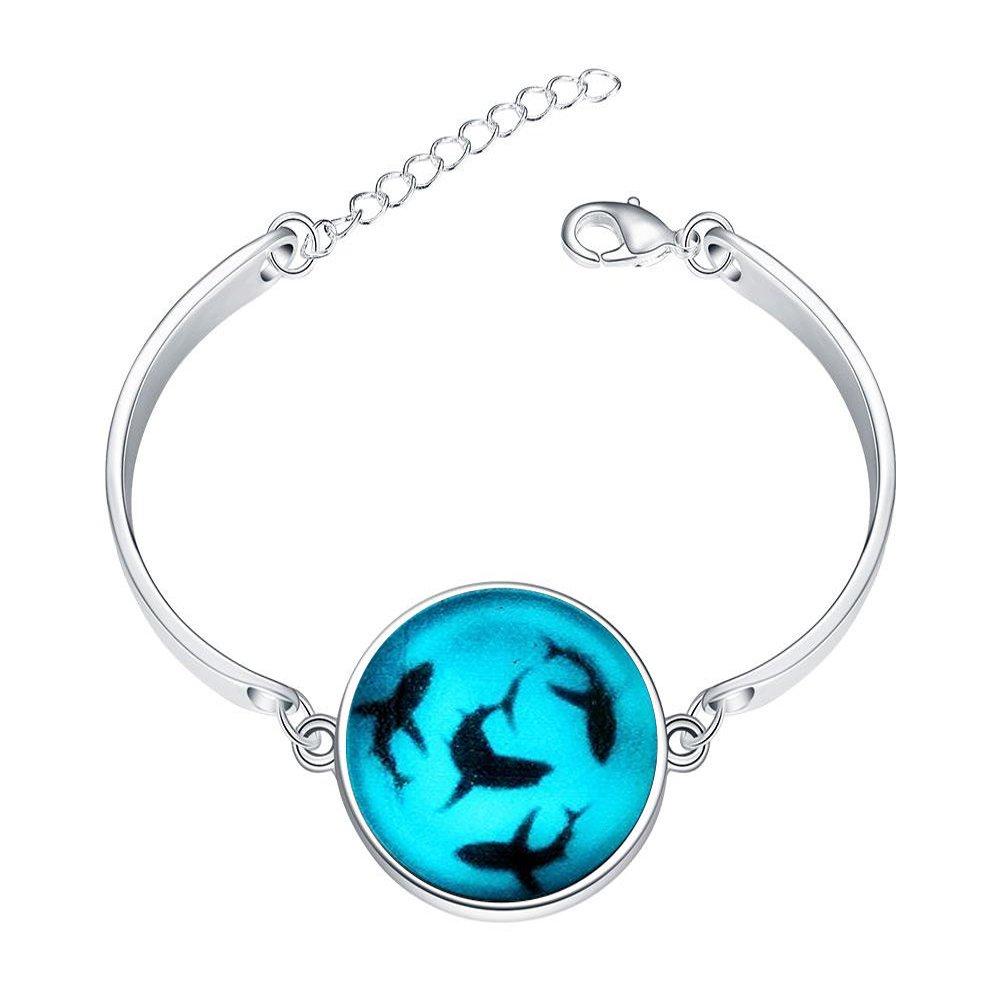 Adjustable Sterling Silver Bracelets Shark Glowing Alloy Bangle Custom Image Glass Cabochon Brace Lace
