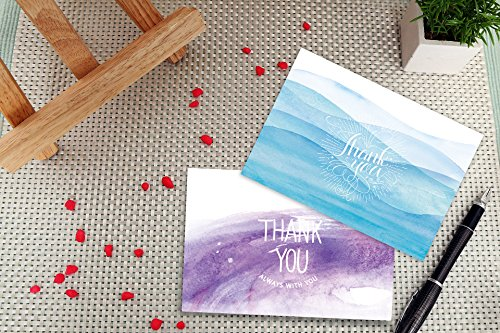 Qz Thank You Cards - 36 Watercolor Thank You Notes, Bulk Boxed Set - Blank on the Inside - Beautiful Cute Designs - Envelopes and Golden Sticker Included, 4 x 6 Inches Size - Perfect for Any Occasions by Quecia zone (Image #4)