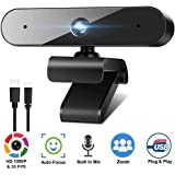 1080P Webcam for PC Laptop Desktop, 360-Degree Rotation Streaming Webcam with Microphone, Computer Video Camera Webcam Compatible for Video Calling Recording Conferencing
