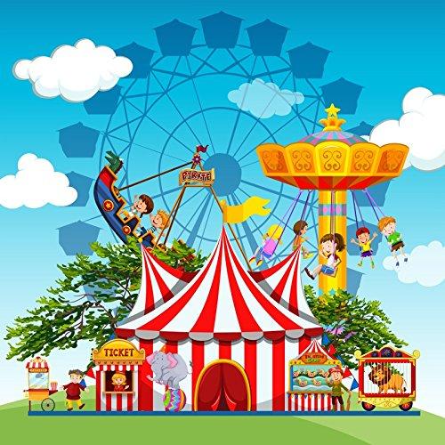 Laeacco Amusement Park Photography Background 6x6ft Children People Circus Carnival Fun Fun Park Theme Cartoon Backdrop Ride Tent Booth Show Performance Game Boy Girl Cage Lion Ferris Wheel (Best Theme Park Ride Photos)