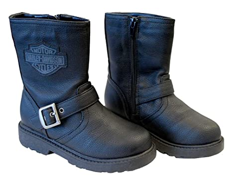 Amazon.com: Harley-Davidson Boy's Pleather Biker Boot, Side Buckle ...