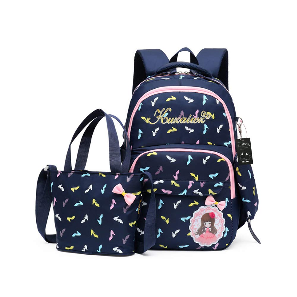 FRISTONE École Sac à dos/3pcs Enfants sac à sac à dos scolaire pour les filles+ Sac d'Épaule+Crayon sacs(Noir)